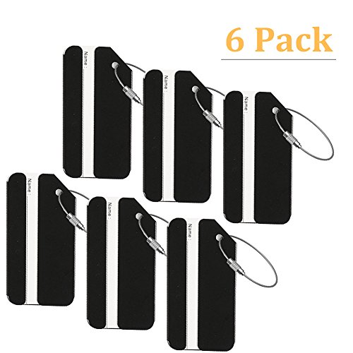 AVESON Luggage Tags, Aluminium Metal Travel Baggage Labels Suitcase ID Tag Bag Identifier, 6 Pack, Black