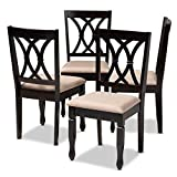 Baxton Studio Reneau Fabric and Wood Dining Chairs in Sand and Brown Set of 4