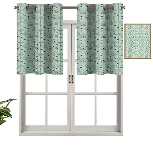 Hiiiman Indoor Home Valance Curtain Panel Pattern with Birds and Cages Illustration Freedom and Escape Artwork, Set of 1, 42'x18' for Bathroom and Cafe