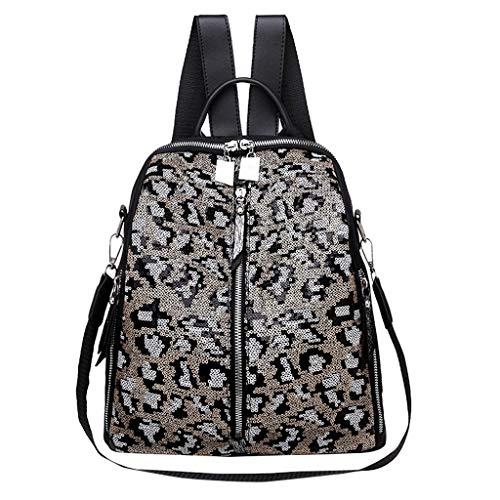 KaloryWee Damentasche Rucksack Leopardentasche Reisetasche Große Kapazität Mittlere Studententasche Männlicher Student Neutral Mode Textur PU wasserdicht