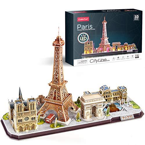 CubicFun Paris, France Puzzle 3D LED CityLine - Tour Eiffel, Notre Dame de Paris, Le Louvre, Arc de Triomphe Kits de Décoration et Cadeau Souvenir, 115 Pièces