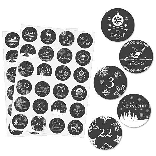 Kesote 24 cijferstickers Duitse kerstkalender stickers om te knutselen Kerstmis etiketten zwart (4 cm, 48 stuks)