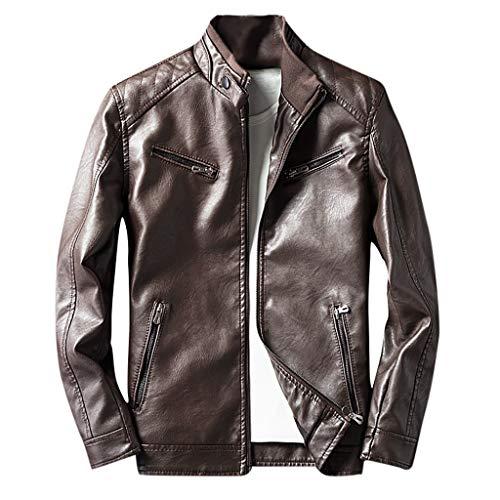 Qiuday warme Winterjacke Herren Herbst/Winter Slim Fit Jacke Mantel Lederjacke Einfarbig Langarm Fake Biker Jacken Outwear Klassische Winterjacken Sweatshirt Casual Tops Sportswear