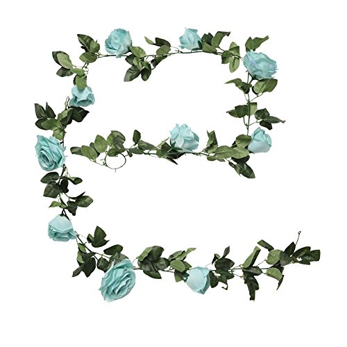 Houda Vintage Artificial Fake Silk Flowers Garland Hanging Plant Leaves Home Garden Wall Wedding Decor 1 PCS (Blue)