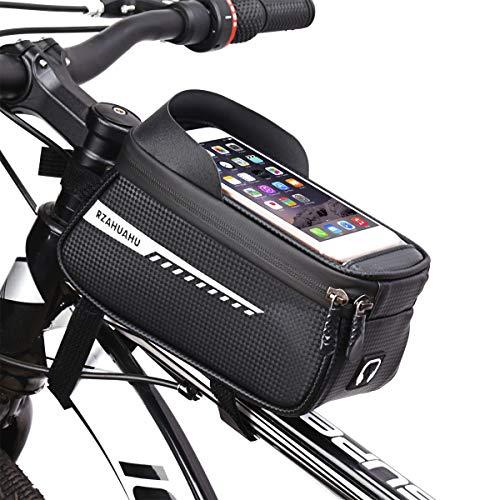 N/ Borsa per Telaio Bici Borsa Impermeabile Grande capacità Bicicletta Borsa con Foro per Cuffie Adatto per Telefoni sotto 6.5 Pollici (Grigio, 6.5'')