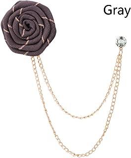 KXHZJM Handmade Fashion Ribbon Flower Lapel Pin Fabric Rose Flowers Brooch Men's Tassel Chain Suit Brooches Men Accessories200