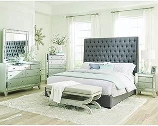 Coaster Home Furnishings 300621KE Upholstered Bed, Grey/Dark Brown