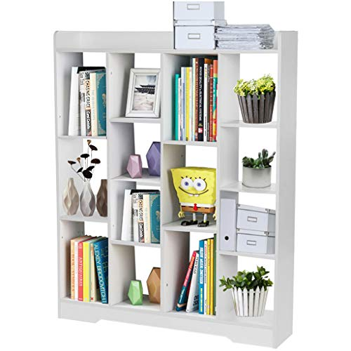 Modern Bay Window Shelf,Simple Floor Bookshelf,Photo Display Frame,Creative Combination Bookcase for Students,Super Large Capacity,with 14 Open Cabinet,for Study Living Room Decor (White)