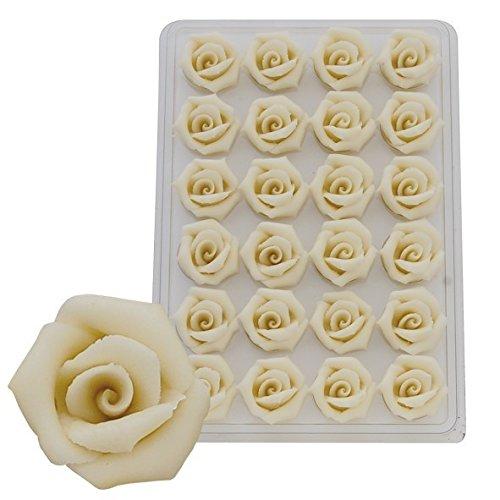 Sweet Konzept Marzipanrosen 35mm Ø, 24 Stück, Farbe:Weiß
