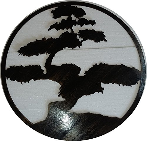 Bonsai Tree Metal Sign, Wall Decor, 23.5 inches, Antique Look