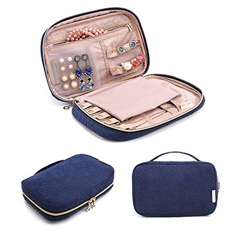 BAGSMART Jewelry Organizer Bag Travel Jewelry Storage Cases for Necklace, Earrings, Rings, Bracelet, Blue