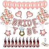 Mingco BridetoBe, EVJFAccessoire, BridetoBeBallon, Bachelorette Bride Party Fournitures avec la mariée à être Foil Ballons,Ballons confettis pour Douche Nuptiale Partie de Poule.