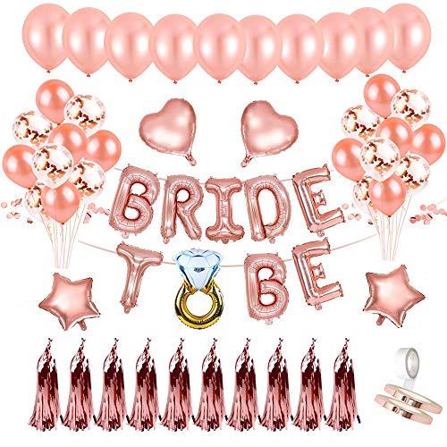 Mingco Addio al Nubilato, Bride to be Palloncini Banner Party Palloncini Coriandoli, Palloncini Rosegold, Rifornimenti per Feste con Palloncini a Forma di stagnola, Addio al Nubilato Gadget.