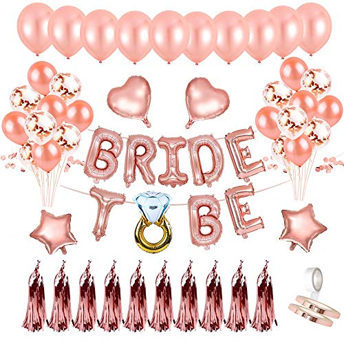 JGA Deko Ballon Girlande, Bride to Be Deko, Konfetti Luftballons, Foto Booth Props für Tochter Mädchen Abschied Verlobung Party, Junggesellinnenabschied Deko