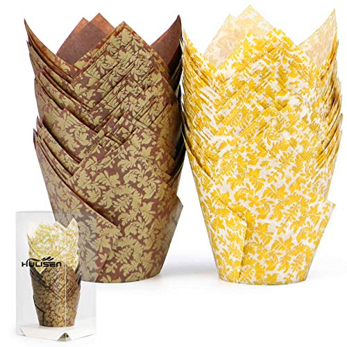 HULISEN 100 Pcs Tulip Cupcake Liners, 2 Colors Premium Greaseproof Paper Baking Cups, Muffin Liners for Wedding, Baby Showers, Party, Brown and White Golden Leaf Model