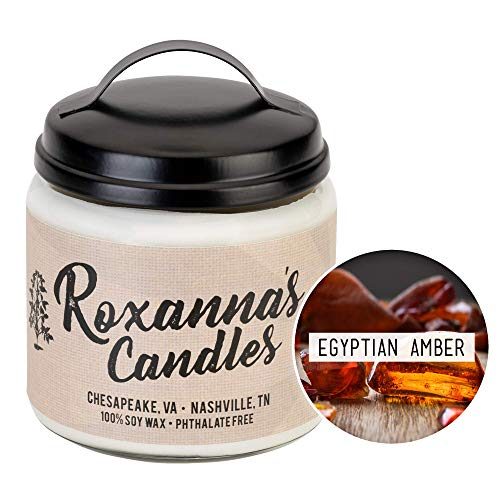 Roxanna's Candles Clean Burning Soy Wax Wooden Wick Glass Jar Candle 16oz by Artisan Hand-Crafted in Nashville, TN | NO Chemical Binders, Dyes, or Lead Wicks | Pthalate-Free (Egyptian Amber)