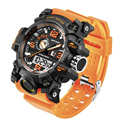 KXAITO Men's Watches Sports Outdoor Waterproof Military Watch Date Multi Function Military LED Alarm Stopwatch (Orange)