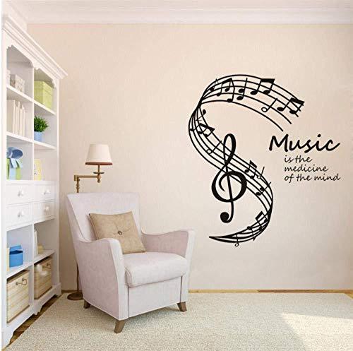 Pegatinas de pared de música es la medicina de la mente Notas musicales Stave Vinyl Decal para el hogar Living 42 * 47Cm