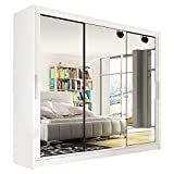 Ye Perfect Choice Modern <span class='highlight'>Wardrobe</span> Bedroom Mirror 3 <span class='highlight'>Sliding</span> <span class='highlight'>Door</span> Large <span class='highlight'>Wardrobe</span> Notsa 3 Width 250cm (White, Without Carrying Service)