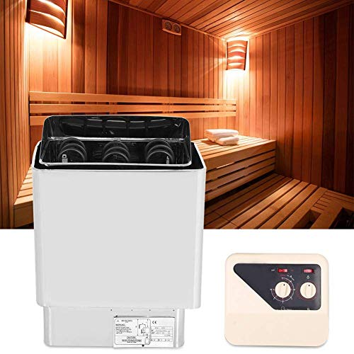 HYY-YY Estufa de Sauna eléctrica, 6kw 220-380V Acero Inoxidable Calefacción de baño de Acero Inoxidable Control de té Sauna SPA SPA Estufa Calentador con Controlador Incorporado para Piscina Gimnasio
