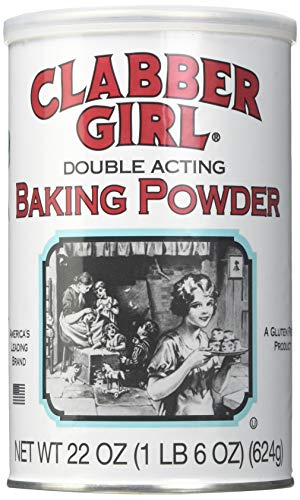 Clabber Girl Baking Powder - Gluten Free, Vegan, Vegetarian, Double Acting Baking Powder in a Resealable Can, Kosher, Halal - 22 Oz Can (1)