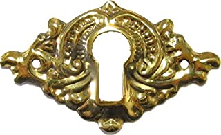 UNIQANTIQ HARDWARE SUPPLY Victorian Stamped Brass Keyhole Cover for Antique Cabinet, Dresser Drawer, Desk - Furniture Hardware | B-0273