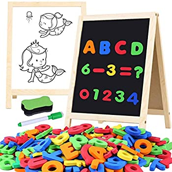 GINMIC Magnetic Letters and Numbers with Easel for Kids/Toddlers Magnetic Whiteboard & Chalkboard w/Dry Erase Markers ABC Magnets Alphabet Letters Learning Set Classroom Home Education Toys