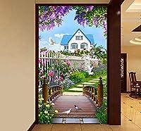 壁の背景装飾画 写真壁紙3D自然風景木製ブリッジ壁画リビングルームダイニングルーム入り口背景壁画-280X200Cm