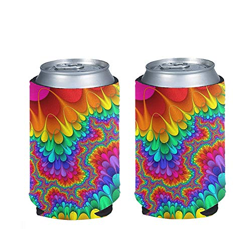 Coloranimal Colorful Rainbow Swirl Spiral Tie Dye Pattern Skinny Can Coolers Sleeve for Drink/Beer...