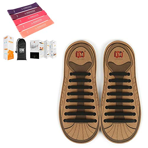 INMAKER No Tie Shoe Laces for Adults and Workout Bands Resistance for Women
