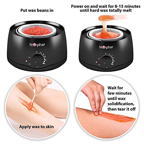 Wax Warmer Hair Removal Kit   Waxing Kit with 3 Hard Wax Beans and 10 Applicator Sticks   Professional and Home Wax Heater for Women and Men   Face   Body   Bikini Hair Removal