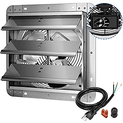 iPower 3-Speed 12 Inch Shutter Variable Exhaust Fan Aluminum, 1620RPM, 940CFM, with Build Controller, Silver
