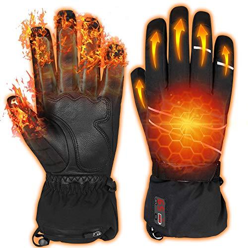 Elektrische Beheizbare Handschuh mit Wiederaufladbar 7.4V 2200mAh Batterie, Winterhandschuhe mit Temp Power LCD Digitalanzeige, Einstellbare Temp 40-65 ℃, Wasserdicht Warm Handschuhe für Motorrad