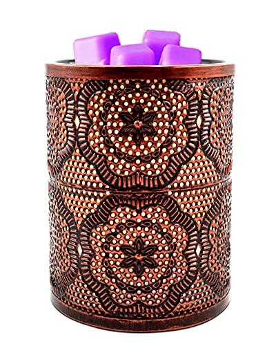 Elektrische Duftlampe für Duftwachs oder ätherische Öle,Wachs Schmelze Wärmer,Metall Vintage Duftlampe Teelicht mit Lavendel Wachsblock und LED Bulbs,Aromatherapie Kerze Nachtlicht für Home Büro