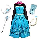 FStory&Winyee Kinder Eiskönigin ELSA Mädchen Prinzessin Kleid mit Umhang Karneval Party Kostüm Cosplay Verkleidung Halloween Fest, Blau, 110(Körpergröße 100cm-110cm)