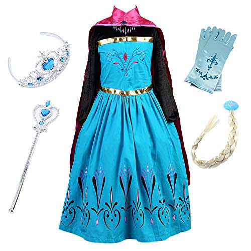 FStory&Winyee Kinder Eiskönigin ELSA Mädchen Prinzessin Kleid mit Umhang Karneval Party Kostüm Cosplay Verkleidung Halloween Fest, Blau, 130(Körpergröße 120cm-130cm)