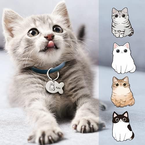 Chapa Identificativa Grabada Placas para Gatos con Nombre Telefono Personalizado Etiquetas de Identificación de Acero Inoxidable para Gato
