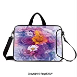 AngelDOU Neoprene Printed Fashion Laptop Bag Bouquet of Rose Daisy and Gerbera Flowers Impressionist Style Notebook Tablet Sleeve Cases Compatible with Lenovo Asus Acer HP Purple Lilac Orange