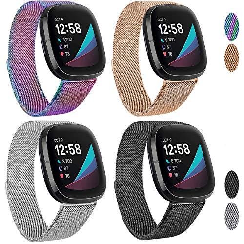 SINPY Correa para Fitbit Versa 3,Metal Acero Pulsera Repuesto Correas Accesorio Compatible con Fitbit SE Tracker,Pequeño/Grande