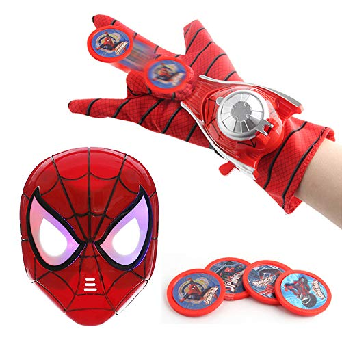 O3 Kids Toy Spider-Man Mask + Glove + Transmitter, Spider Man LED Luminous Mask Accessories Hero FX Glove, Homecoming Superhero Dress Up Costumes Webshooter Web Slinger Launcher Role Play Set Toy