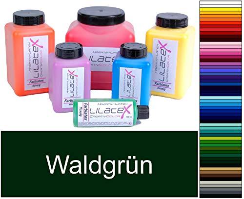 Lilatex 1 Liter farbiges extra-dickflüssiges Flüssiglatex/Farblatex/Latexmilch - extra-Dickes Naturlatex (Waldgrün)