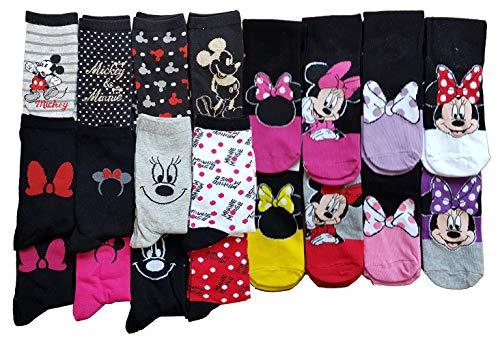 Damen-Söckchen Disney: Minnie, Prinzessin, Tinkerbell, Winnie, Titi, Star Wars, aus Baumwolle, verschiedene Modelle je nach Verfügbarkeit. Gr. One size, Pack de 9 Paires Surprise Minnie
