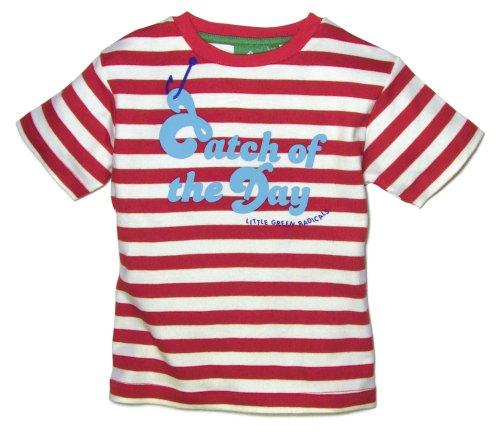 Little Green Radicals T-shirt en coton bio issu du commerce équitable, Catch de la journée (rayé rouge & blanc) Parent ASIN 2-3 ans
