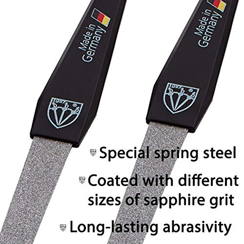 3 Swords Germany - brand quality double sided (fine & coarse) SAPPHIRE NAIL FILE (2 pcs.) with 3-way nail buffer, manicure pedicure finger & toe nail care by 3 Swords, Made in Solingen Germany (6158)