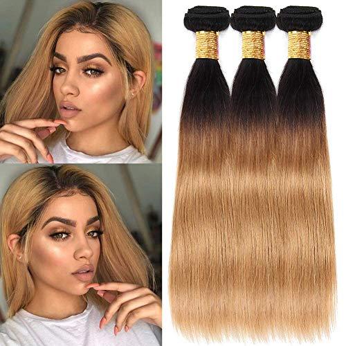Black Rose T1B 27 Straight Human Hair Weaves Black to Honey BlondeOmbre Hair 3 bundles 8A 100% Peruvian Virgin Hair Extensions Silky Straight Dark Root Two Tone Hair Weaving 300G(T1B/27#,16'18'20')