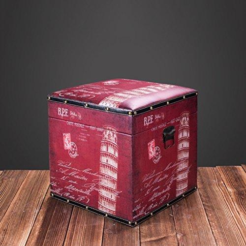 Boîte de rangement en bois d'habillement de style industriel rétro américain/tabouret court/boîte de rangement de jouet des enfants, incidence de charge de 100kg (Couleur : #5)