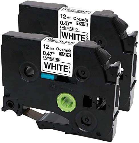 Oozmas Compatible Label Tape Replacement for TZe-231 P Touch Label Tape 12mm 0.47 Inch Laminated Black on White, Work with Brother Label Maker PTD210 PTH110 PTD400AD, 2-Pack