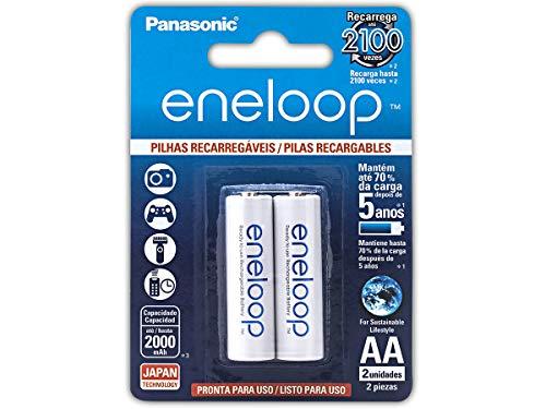 Pilha Recarregável Eneloop AA (Pequena), BK-3MCCE/2BB, Panasonic, Cartela com 2 unidades
