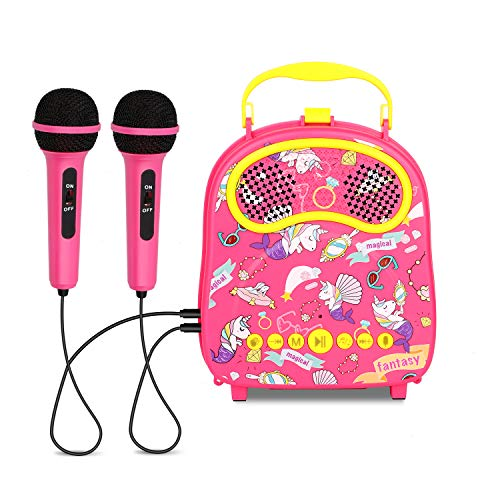 KINDL Kids Karaoke Machine with 2 Microphones Handheld Karaoke Speaker for Children,poratable Toddler Karaoke Singing Machine with Voice Changer,Best Xmas Gift for Girls Boys