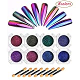 DecoForU Chrome Nail Powder Glitter Mirror Effect 8 Colors Chameleon Pigments Nail Art Dust Manicure Decorations Kit with 8pcs Eyeshadow Brushes 0.2g / Box